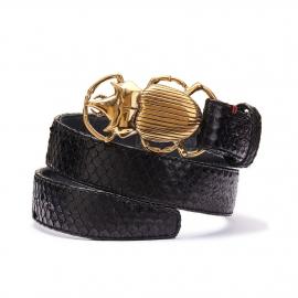 Black Python Belt Beetle Gold Buckle
