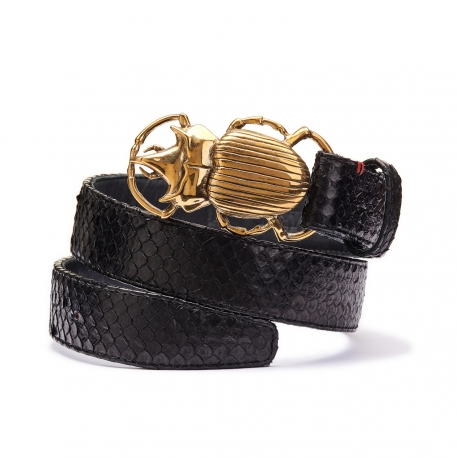 Black Python Belt Beetle Gold Buckle