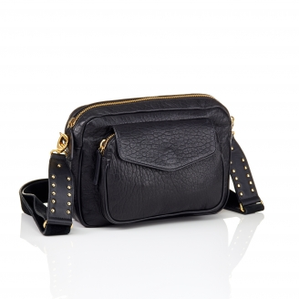 Black Lamb Leather Big Charly Bag Gold Strap