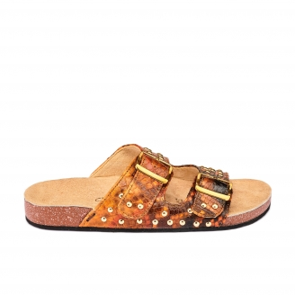 Moka Painted Python Sandals Odette