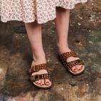 Moka Painted Python Sandals Odette