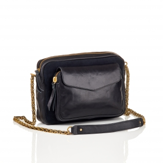 Bag Big Charly Black Leather With Chain