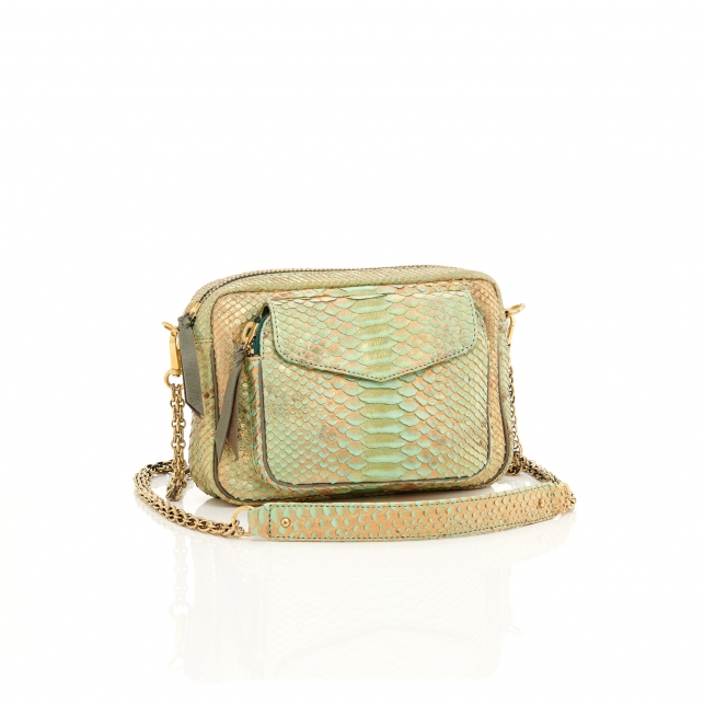 Metallic Jade Python Bag Charly