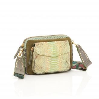 Tricolor Metallic Jade Python Bag Big Charly Strap