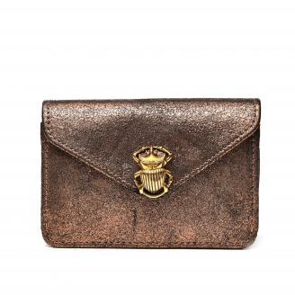 Python Card Holder Alex Gold Leather