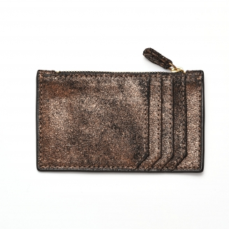 Gold Leather Card Holder Helena
