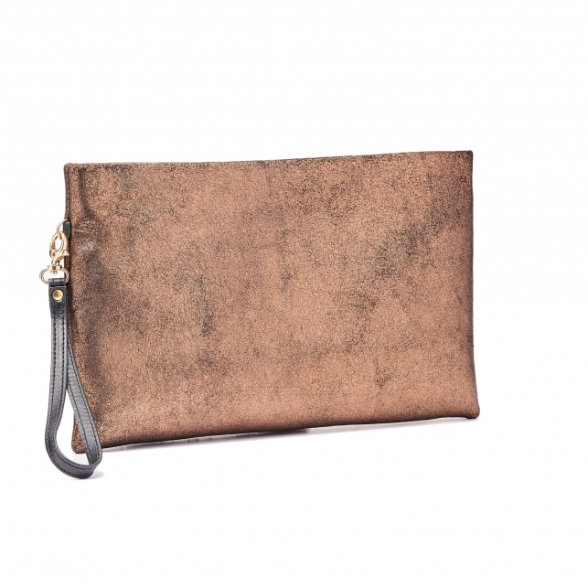 Golden Leather Clutch Lou