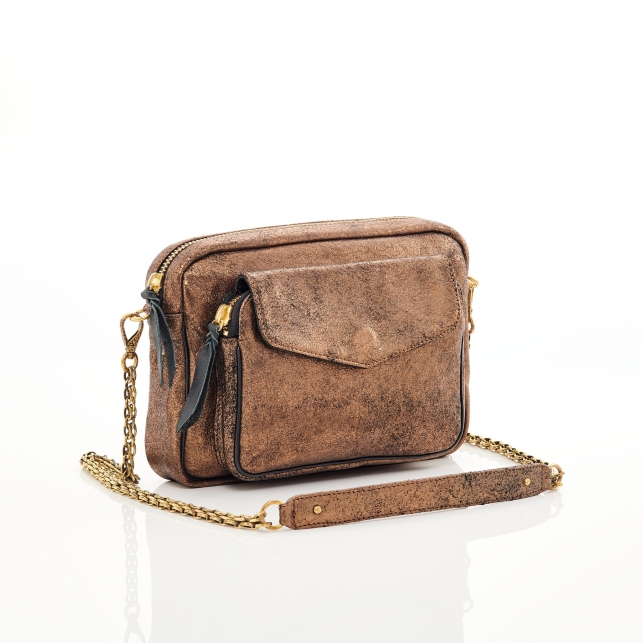 Golden Leather Bag Big Charly Chain