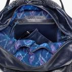 Navy Python Shoulder Bag Yvette