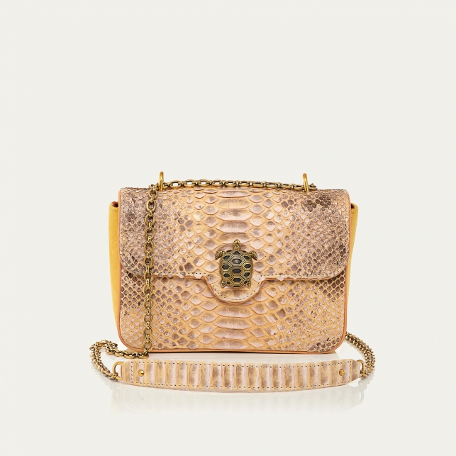Champagne Python Bag Ava Medium Turtle
