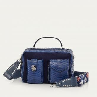 Navy Blue Python Bag Cesar