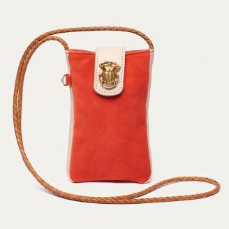 Tangerine Leather Phone Bag Marcus