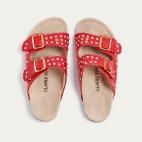 Sandals Python Odette Red Gold Studs