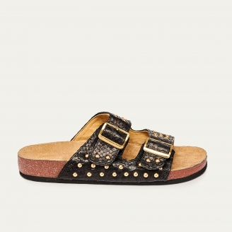 Sandals Python Odette Black Gold Studs