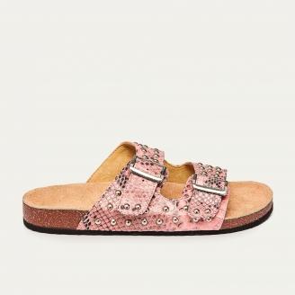 Sandales Python Odette Rose Poudré