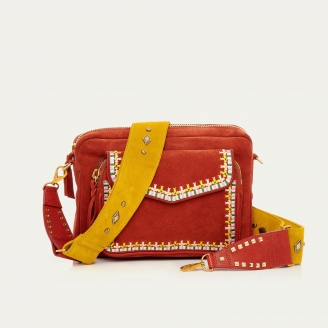 Brick Leather Embroidered Big Charly Bag