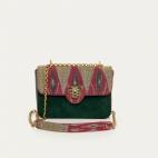 Burgundy Endek Leather Ava Medium Bag