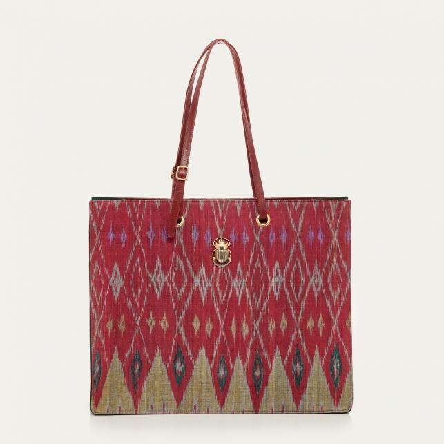 Burgundy Endek Shopping Bag Archi