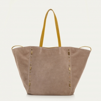 Taupe Studs Leather Tote Felix