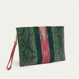 Forest Green Python Endek Clutch Lou