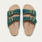 Blue Green Suede Odette Sandals
