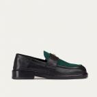 Green Black Leather Mia Moccasin