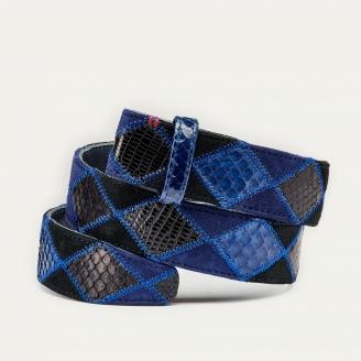Blue Patchwork Python Belt