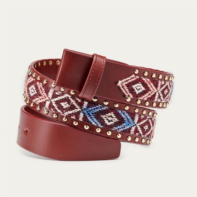 Studded Sumba Burgundy Leather Belt