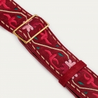 Burgundy Leather & Embroidery Strap