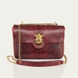 Burgundy Python Bag Big Ava Beetle