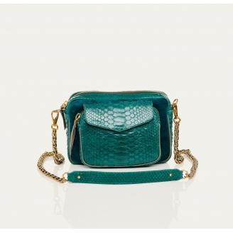 Python and Suede Blue Green Charly Bag