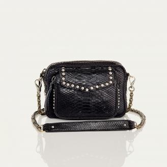 Bag Big Charly Python Black With Chain and Studs