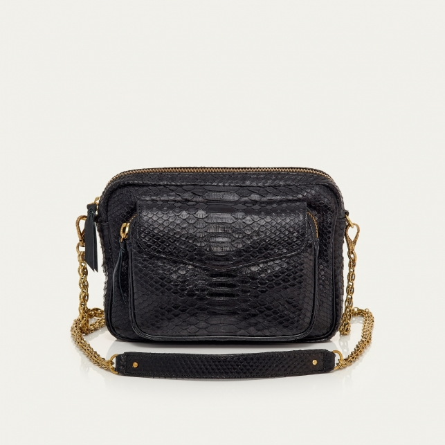Python Bag Big Charly Black Gold Chain