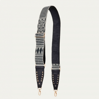 Black Leather Strap Woven Gold