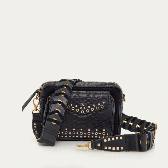 Black Python and Suede Eyelets Big Charly Bag