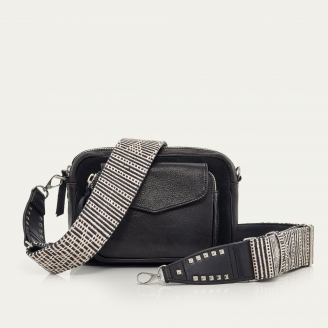 Black Grained and Suede Black Charly Bag