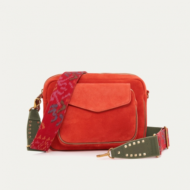 Tangerine Suede Leather Big Charly Bag