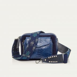 Blue Cobalt Python and Suede Charly Bag