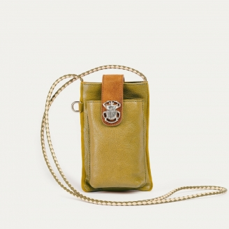 Mustard Camel Leather Phone Bag Double Marcus
