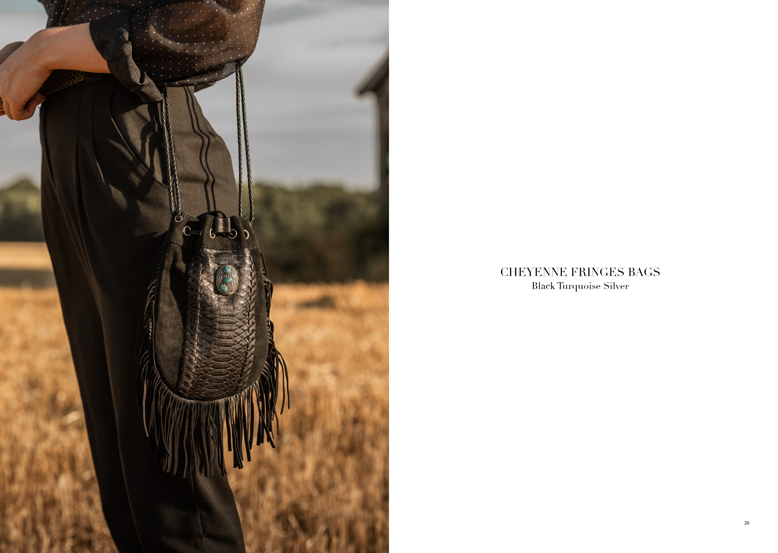 CHEYENNE FRINGES BAGS BLACK TURQUOISE SILVER