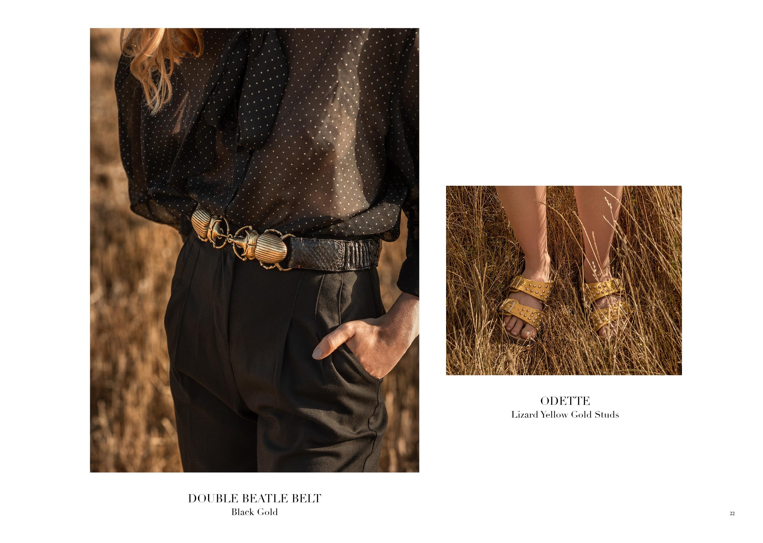 DOUBLE BEETLE BELT BLACK GOLD & ODETTE LIZARD YELLOW